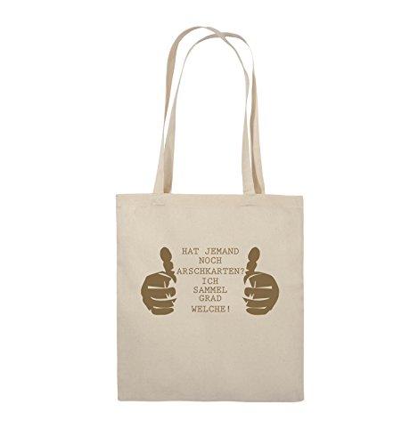 Comedy Bags - HAT JEMAND NOCH ARSCHKARTEN - Jutebeutel - lange Henkel - 38x42cm - Farbe: Schwarz / Silber Natural / Hellbraun