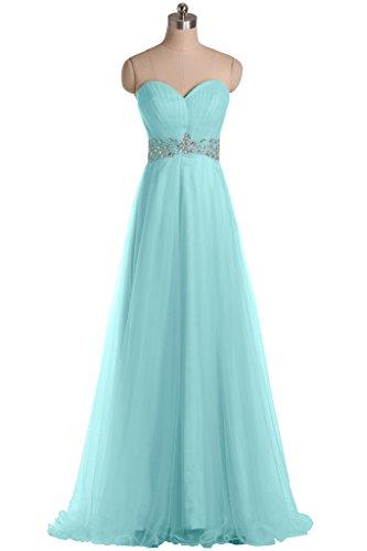 Sunvary una elegante linea di Tulle, abiti da sera, con zircone, Pageant Verde