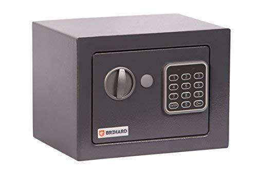 Brihard Junior Tresor Safe mit Elektronischem Schloss, 17x23x17cm (HxWxD), Titan Grau