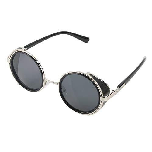 VCB Steampunk Sonnenbrille Runde Brille Cyber   Goggles Vintage Retro Style Blinder