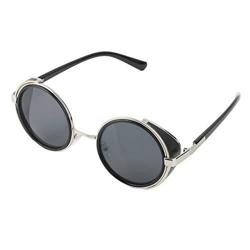 VCB Steampunk Sonnenbrille Runde Brille Cyber   Goggles Vintage Retro Style Blinder (Sonnenbrillen Blinde)
