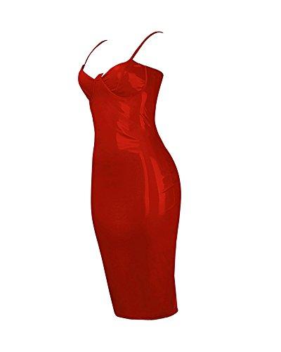 Abito Senza Spalline In Pelle Simili Mini Scollatura Profondo V Aderente Mini Vestito Night Club Abito Clubwear Rosso