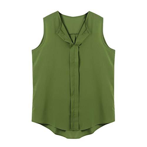 Yvelands Damen Tanktops T-Shirt Summer Fashion Solid Vest V-Ausschnitt Ärmelloses T-Shirt-Top(Grün,XXXL)
