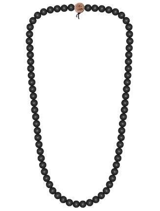WOOD FELLAS Unisex Deluxe Holz-Perlenkette black 12mm