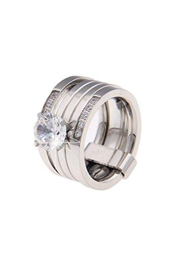 Leslii Premium Quality Strass Ring Edelstahl | moderner Damen-Ring | Größe 18mm oder 19mm Größe 19
