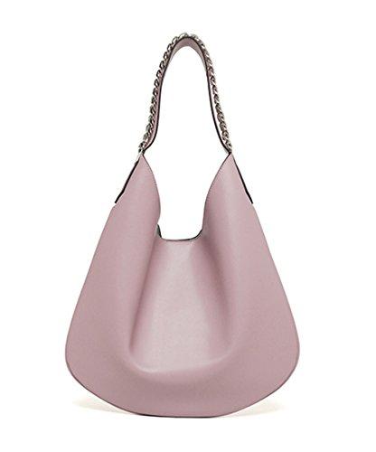 Xinmaoyuan Borse donna grande pacchetto borsa tracolla in pelle Crescent Pack spalla ritiro a mano le donne Shopping Bag colore puro gnocco di catena del tipo sacchetto,Rosa Rosa