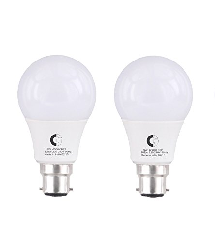 Crompton LSB Series 9-Watt LED Lamp (Pack of 2, Cool Day Light)
