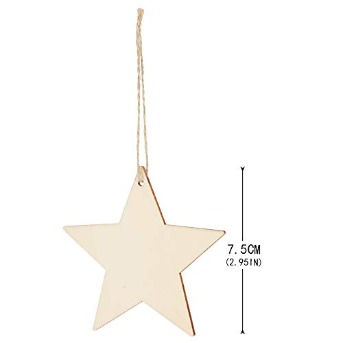 Auidy_6TXD 80 PCS Natural Wooden Star Cutouts Shape Wooden Star Embellishments with 80 pcs Natural Twine for Craft DIY Christmas Home Party Decoration