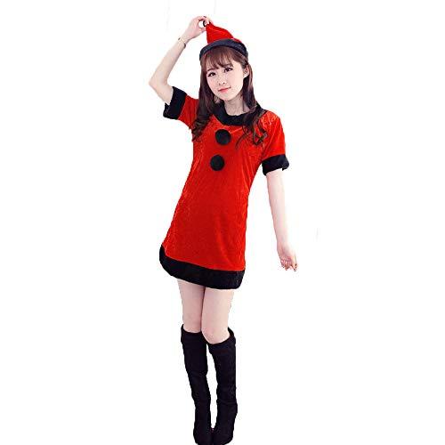 Yunfeng weihnachtsmann kostüm Damen Weihnachts Kostüm Kostüm Leistung Kleid Little Red Riding Hood Halloweenkostüm Kostüm Erwachsene Weihnachtsfeier Cosplay Kostüm (Red Erwachsene Kostüme Little Riding Hood)
