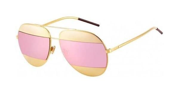 fcaa1dea5a4 New Christian Dior SPLIT 1 000 0J rose gold rose gold mirror avitor  sunglasses  Amazon.co.uk  Clothing