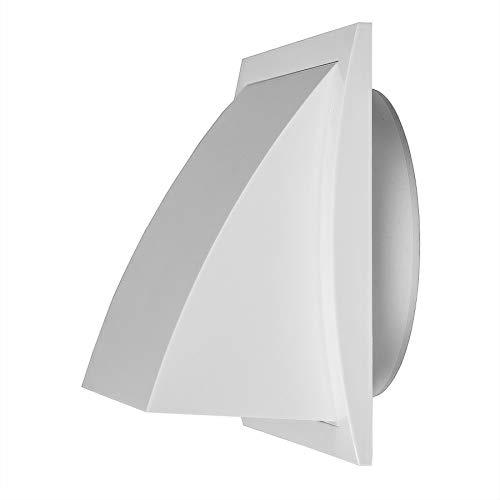 Ø 150mm Weiß Ablufthaube Lüftung mit Rückstauklappe Kunststoff, Lüftungshaube 190 x 190mm mit Anschluss Ø 150mm