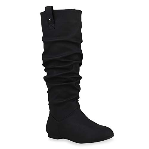 Damen Schlupfstiefel Warm Gefütterte Stiefel Nieten Winter Schuhe 153347 Schwarz Arriate 38 Flandell