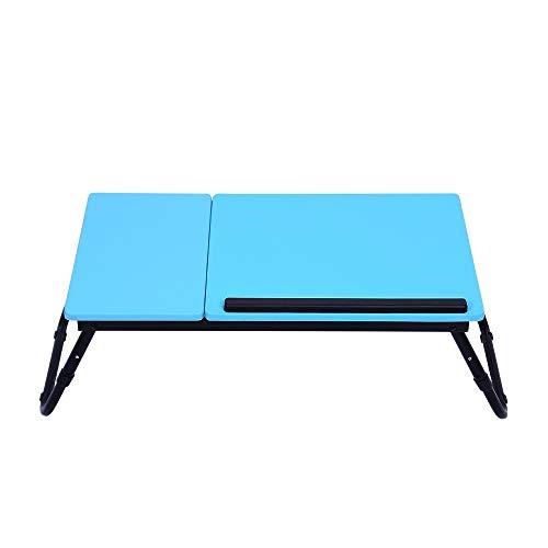 Computer portatile vita del notebook supporto da tavolo pieghevole portatile supporto da tavolo,altezza regolabile antiscivolo supporto per tubi in acciaio pannello mdf design moderno in sti,blu