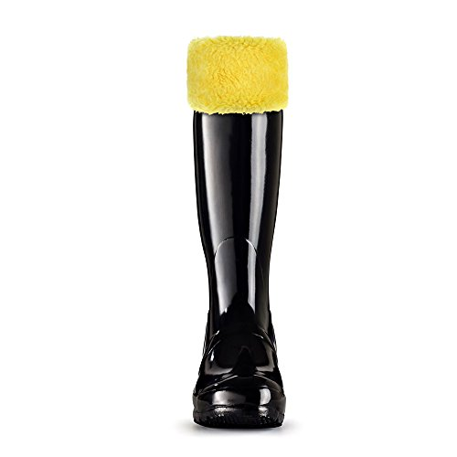 TPLB Thermal Fleece Welly Socks for Hunter Tall Rain Boots, Warm Winter Boots Liner with Fuzzy Cuff,Best Leg Warmers for Winter (Yellow, L) (Damen Welly Sock Fleece)