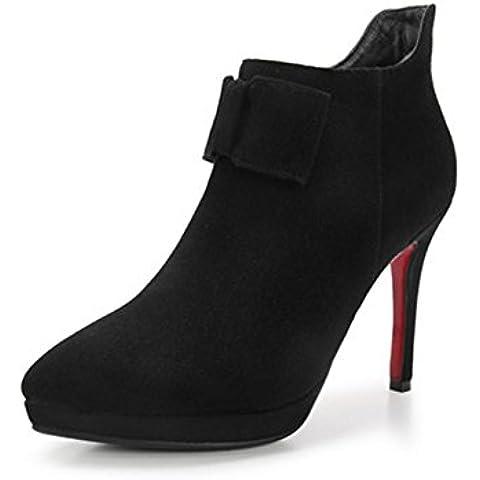 Stivali da pioggia, Ladies in pelle inverno Bow punta stivaletti tacco a spillo , black , 34