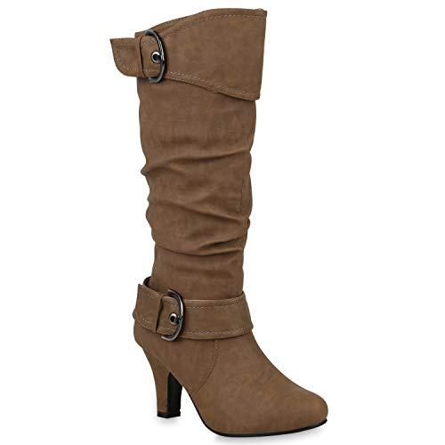 Warm Gefütterte Stiefel Damen Winter Boots Elegante Schnallen Trichterabsatz Wildleder-Optik Booties 42740 Khaki 36 Flandell
