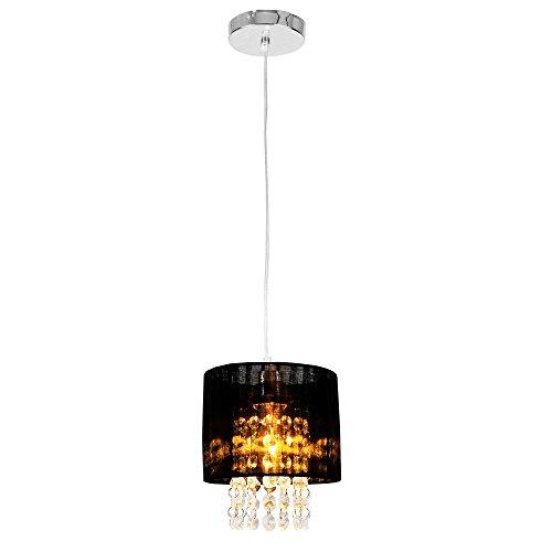 [lux.pro] Kronleuchter Modernes Design schwarze Decken-Leuchte Lüster aus Stoff & Kunst Kristall Ø 15 cm Leuchte E14