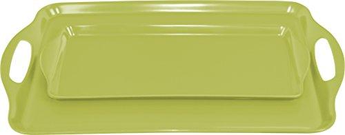 Calypso Basics Rectangular and Tidbit Serving Tray Set, Lime Lime Tray Set