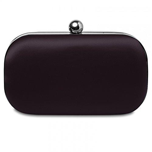 CASPAR klassische Damen Satin Clutch / Abendtasche mit stylischem Innenstoff in Leoprint / Hardcase - viele Farben - TA323 dunkelbraun