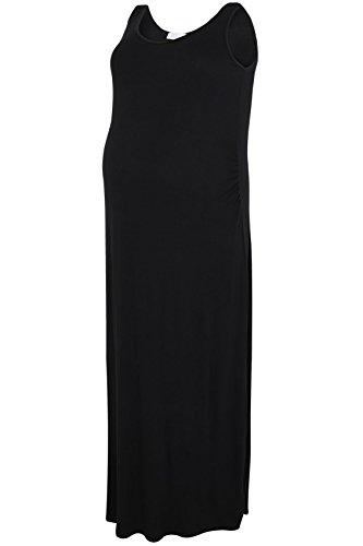 Plus Taille Robe maternité Maxi robe avec froncée taille côté Détails Noir