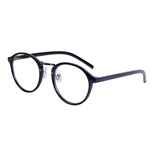 JoXiGo Nerdbrille Retro Rund Ohne Stärke Unisex Dekogläser Klassisches Mode Damen/Herren Brillen mit Etui
