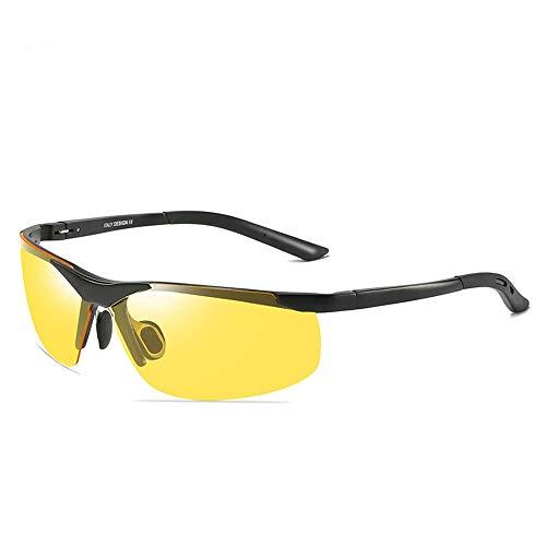 Nachtfahrbrillen der Männer, 100% UV-Schutz-Sonnenbrillen für das Fahren Radfahren Laufen Angeln Golf Beach, Blendschutz Polarisierte Sonnenbrillen Schutzbrillen (Color : Yellow, Size : M)