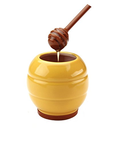 MSC International Joie Abeille Hive Miel Jar et miel Plongeur Coller Set, Pot en grès, Jaune