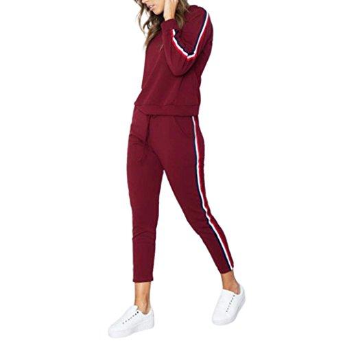 Trainingsanzug Damen, ZIYOU Mode Sport Pullover Langarm Rundhals Sweatshirt Top + Hosen Sets Sportbekleidung Casual Sport Yoga Sportanzug (Rot, M) (Langarm Trainingsanzug)