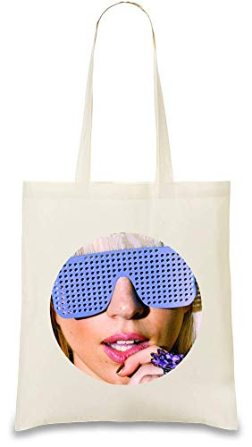 Lady Gaga Blaue Sonnenbrille Blue Sunglasses Custom Printed Tote Bag| 100% Soft Cotton| Natural Color & Eco-Friendly| Unique, Re-Usable & Stylish Handbag For Every Day Use| Custom