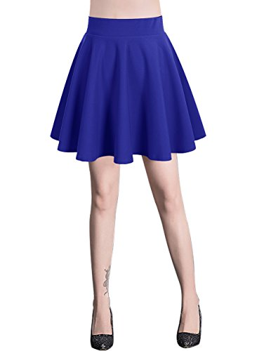 Bridesmay Damen Mini Rock Basic Solid vielseitige dehnbaren informell Minikleid Retro Sexy Rock Faltenrock Royal Blue XL (Solid Blue Rock)