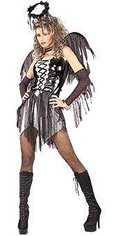 Costume donna Sexy Angelo Nero taglia standard americana veste largo