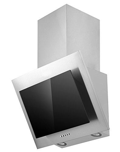 Respekta Dunstabzugshaube Schräghaube kopffrei Edelstahl Glas schwarz 60 cm LED