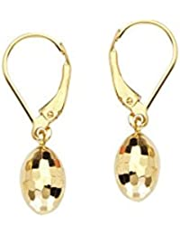 14ct Yellow Gold Mirror Sparkle-Cut Dangle Egg Shaped Lever Back Earrings