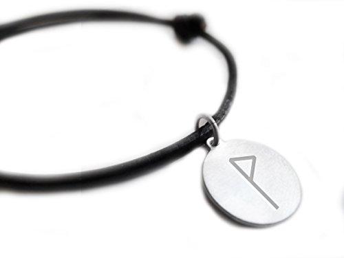Wunjo-Glück und Harmonie Armband Rune Symbol Leder Armband, Sterling-Silber 925Gravur Anhänger