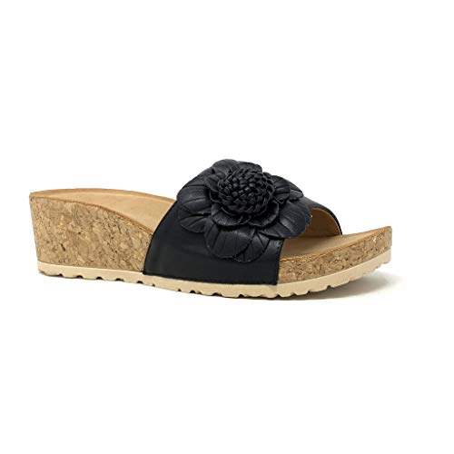 Kork Heels (Angkorly - Damen Schuhe Mule - Bequeme - Strand - Step - Blumen - Kork Keilabsatz high Heel 5 cm - Schwarz 3527-9 T 39)
