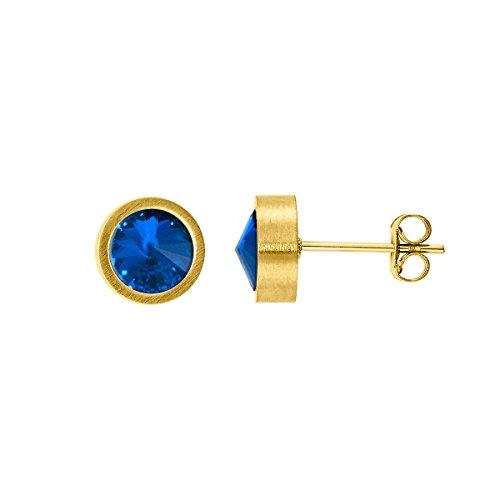 Heideman Ohrringe Damen Coma aus Edelstahl gold farbend matt Ohrstecker für Frauen mit Swarovski Stein Kristall sapphire blau 6mm