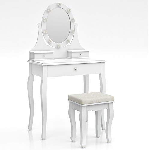 Vicco Schminktisch Villandry Weiß - mit Hocker und Lichterkette - Kosmetiktisch Spiegel Frisierkommode Frisiertisch