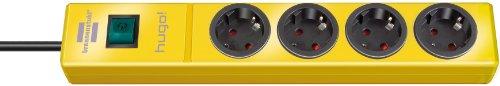 Brennenstuhl hugo! Steckdosenleiste 4-fach (mit Schalter und 2m Kabel, Gehäuse aus bruchfestem, stabilem Polycarbonat) Farbe: gelb