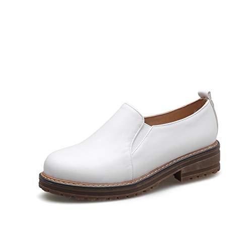 AN Damen Mode Geschlossen Bequem DGU01381 Blockabsatz Pumps Weiß - 40.5 EU (Etikette:42) (Patent-oxford-schuhe Womens)