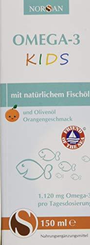 Omega-3 KIDS Öl mit Orangengeschmack I NORSAN I flüssiges Omega-3 Öl für Kinder I 150 ml Flasche I 1.120 mg Omega-3 pro Portion I Natürlich rein I Laborgeprüft