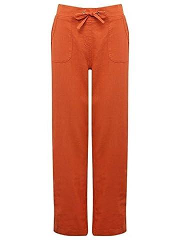 M&Co Ladies Plain Lightweight Full Length Drawstring Tie Waist Wide Leg Linen Trousers Terracotta 12