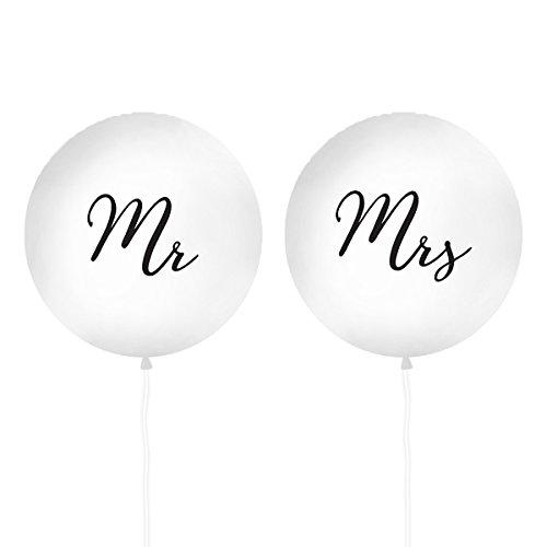 XXL Hochzeits-Ballons 'Mr & Mrs' Riesen Luftballons in weiß/schwarz - Durchmesser Pro Ballon ca. 100 cm - Inhalt 2 Stück - Hochzeits-Deko Hochzeits-Zubehör Dekoration Heirat Luft-Ballons groß