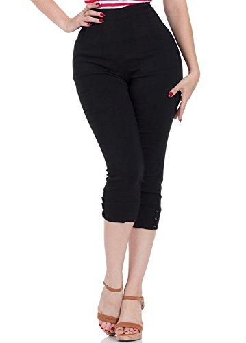 Voodoo Vixen Capri Hose Holly Black Capri Pants 4558 (34, Schwarz)