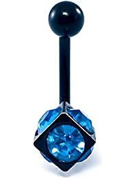 316L Surgical Steel Screw 3D Square Cubic Zirconia Belly Button Ring Body Jewelry Piercing Navel Ring Barbells