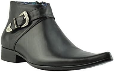 Paolo Vandini Negro Cuero Hombre Winklepicker Ankle Botas Pointed West Buckle