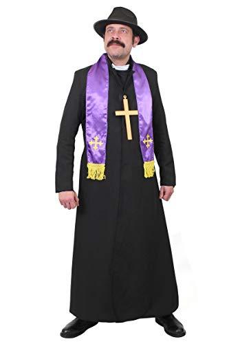 ILOVEFANCYDRESS Erwachsene EXORZISTISCHE KOSTÜM KOSTÜM - Schwarze STAUBJACKE, Priester KOSTÜM, SCHAL, SCHWARZER Hut UND Gold KRUZIFIX PERFEKT FÜR Halloween UND AUSGEFALLENE Kleid Partys - Exorzist Kostüm Priester