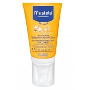 Leche solar facial muy alta protección 50+ MUSTELA (40 ml)