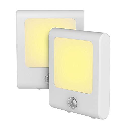 Steckdose LED Nachtlicht mit Bewegungssensor, Energieeffizient Warmweiß Lichter mit Bewegungsmelder Lampen für Flur, Küche, Treppe, Garage, Keller, Wohnzimmer, 2 Stück