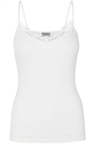 Vero Moda Damen Top VMNEW RATLI LACE SINGLET, Größe:XS/S;Farbe:Snow White (10142147) (Jeans Lace Baumwolle)