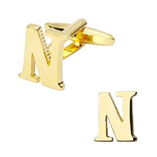 WYLCDGEOOManschettenknöpfe Manschettenknöpfe aus Gelbem Metall Herren Kreative Manschettenknöpfe Englische Buchstaben Manschettenknöpfe, A4